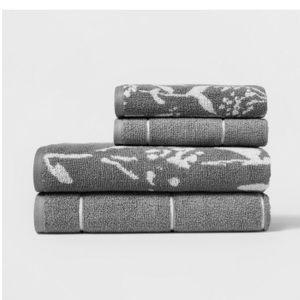Woven Pattern Bath Towel Set Light Gray NWT